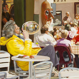 Dominique Amendola - Blowing bubbles at the cafe