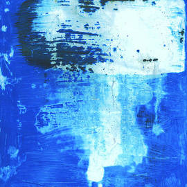 Evan Steenson - Blue Abstraction with Brushstroke Partially Withdrawn