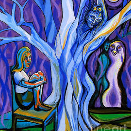 Genevieve Esson - Blue and Purple Girl With Tree and Owl