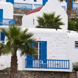 Brenda Kean - blue and white hotel on Mykonos Greece