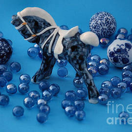 Luv Photography - Blue Ceramic Horse and Marbles