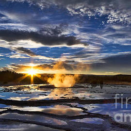 Don Hall - Blue Geyser Sunset