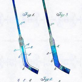 Sharon Cummings - Blue Hockey Stick Art Patent - Sharon Cummings