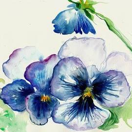 Tiberiu Soos - Blue Pansies Watercolor