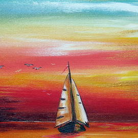 Roberto Gagliardi - Boat at sunset on the Indian Ocean