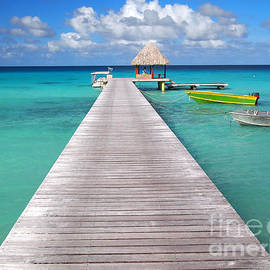IPics Photography - Boats at the jetty in a tropical turquoise lagoon