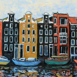 Xueling Zou - Boats In Front of the Buildings VI
