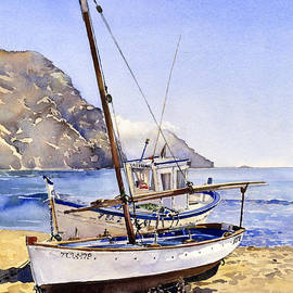 Margaret Merry - Boats on the beach at Las Negras