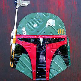 Design Turnpike - Boba Fett Star Wars Bounty Hunter Helmet Recycled License Plate Art