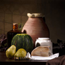Levin Rodriguez - Bodegon with Watermelon-Pears-Bread and Big Jar