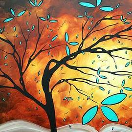 Megan Duncanson - Bold Abstract Artwork Colorful Original Tree Blossoms Painting THE FIRE THAT BURNS WITHIN by MADART
