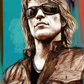 Kim Wang - Bon Jovi long stylised drawing art poster