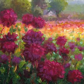 Talya Johnson - Boogie Nites dahlia landscape oil painting