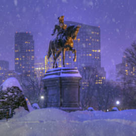 Joann Vitali - Boston Public Garden in Snow with Boston Skyline
