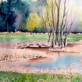 Yoshiko Mishina - Bridge at the botanical gardens - Ann Arbor MI -watercolor