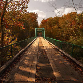 Jerry Cowart - Wooden Bridge Adventure To Autumn Red Orange Yellow Leaves
