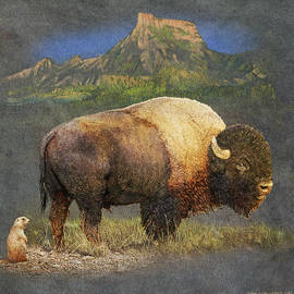 R christopher Vest - Brief Altercation - Bison And Prairie Dog