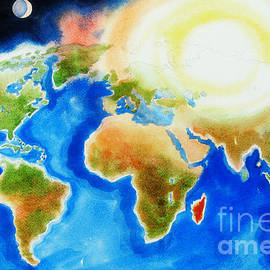 Kip DeVore - Bright Blue World Map in Watercolor with Sunshine and Moon