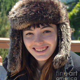 Jim Fitzpatrick - Brown Haired and Freckle Faced Natural Beauty Model Lizzie Gunst Wearing a Hat