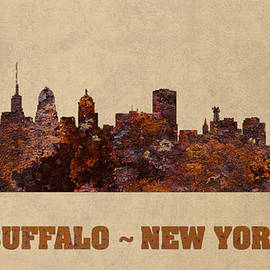 Design Turnpike - Buffalo New York City Skyline Rusty Metal Shape on Canvas