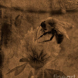 Lesa Fine - Bumble Bee Post Card 2 Sepia