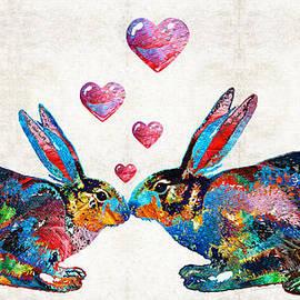 Sharon Cummings - Bunny Rabbit Art - Hopped Up On Love - By Sharon Cummings