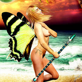 Alicia Hollinger - Butterfly Fairy on the Beach Topless