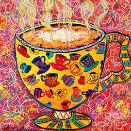 Ana Maria Edulescu - Cafe Latte - Coffee Cup With Colorful Coffee Cups Some Pink And Bubbles