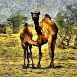 Sue Jacobi - Camel Mom and Baby in Desert India Rajasthan