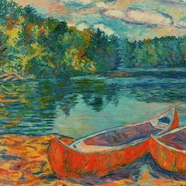 Kendall Kessler - Canoes at Mountain Lake