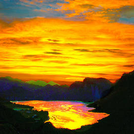 Dr Bob and Nadine Johnston - Canyon Lake Arizona Sunset Painting