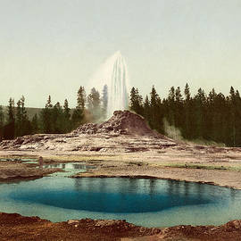Blue Monocle - Castle Geyser - Yellowstone National Park - Wyoming - Vintage Photo from circa 1898