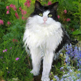 Enzie Shahmiri - Cat Pet Portraits by NC -Cat in the Garden