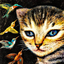Shijun Munns - Cat with Hummingbirds