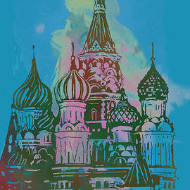 Kim Wang - Cathedral of St Basil  Kremlin Moscow  - pop stylised art poster