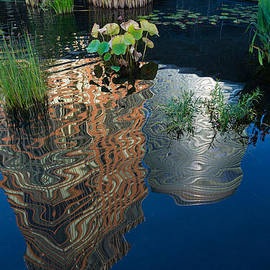 Georgia Mizuleva - Cheerful Reflections - Beautiful Water Garden Reflecting Manhattan Skyscrapers