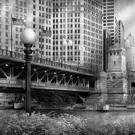 Mike Savad - Chicago IL - DuSable Bridge built in 1920 - BW