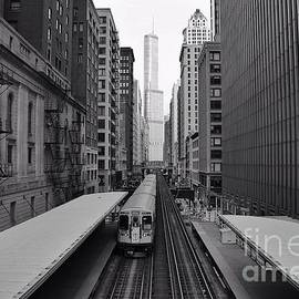 Michael Paskvan - Chicago Loop and Train Black and White