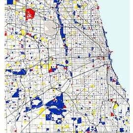 Celestial Images - Chicago Piet Mondrian Style City Street Map Art