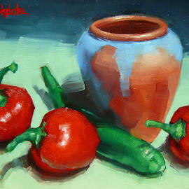 Margaret Stockdale - Chilli Peppers And Pot