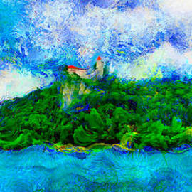 Nicholas Romano - Church And Castle On Cliff At Lake Bled Slovenia 2 Van Gogh Starry Night Style