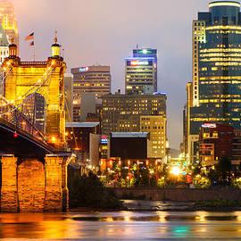 Gregory Ballos - Cincinnati Skyline and the John A. Roebling Suspension Bridge