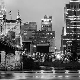 Gregory Ballos - Cincinnati Skyline and the John A. Roebling Suspension Bridge in Black and White