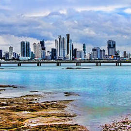 Diana Sainz - City of Panama Panoramic from El Casco Viejo by Diana Sainz