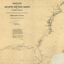 MotionAge Designs - Civil War Map of U S Coasts 1862