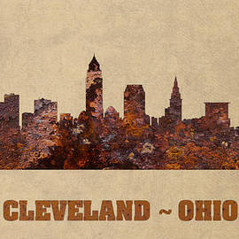 Design Turnpike - Cleveland Ohio City Skyline Rusty Metal Shape on Canvas