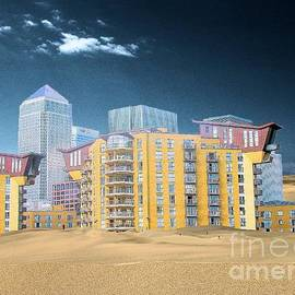 Flow Fitzgerald - Climat change a view over the Dune Thames of Canary Wharf London Docklands England