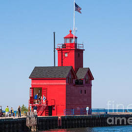 Robert Ford - Closeup of Historic Red Lighthouse Holland State Park Lake Michigan