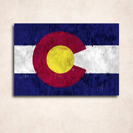 World Art Prints And Designs - Colorado Map Art with Flag Design