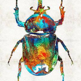 Sharon Cummings - Colorful Beetle Art - Scarab Beauty - By Sharon Cummings